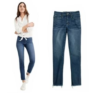 Madewell Slim Straight Raw Hem Blue Denim Jeans